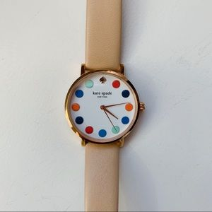 Kate Spade watch nude leather band multicolor dots